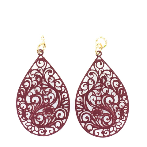 Paisley Teardrop Earrings (Dangles) - maroon
