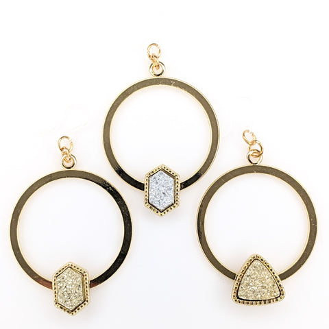 Gold Faux Druzy Hoop Earrings (Dangles) - all colors and shapes