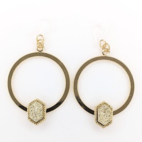 Gold Faux Druzy Hoop Earrings (Dangles) - gold hexagon