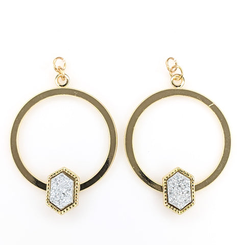 Gold Faux Druzy Hoop Earrings (Dangles) - silver hexagon