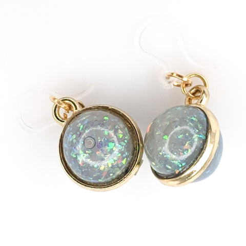 Double-Sided Galaxy Fleck Globe Earrings (Dangles) - grey