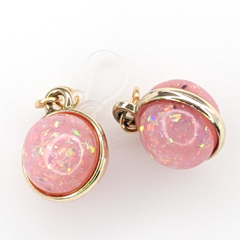 Double-Sided Galaxy Fleck Globe Earrings (Dangles) - light pink