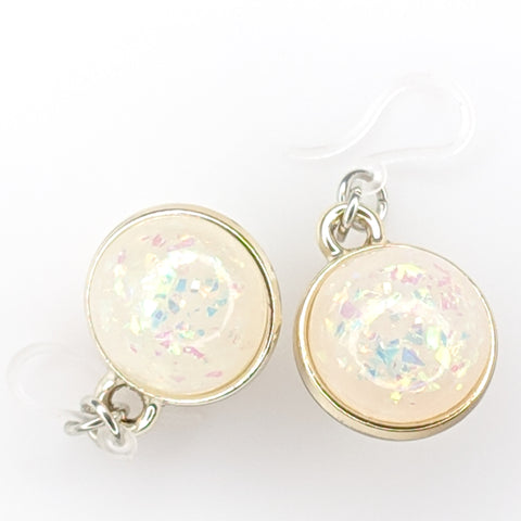 Double-Sided Galaxy Fleck Globe Earrings (Dangles) - white