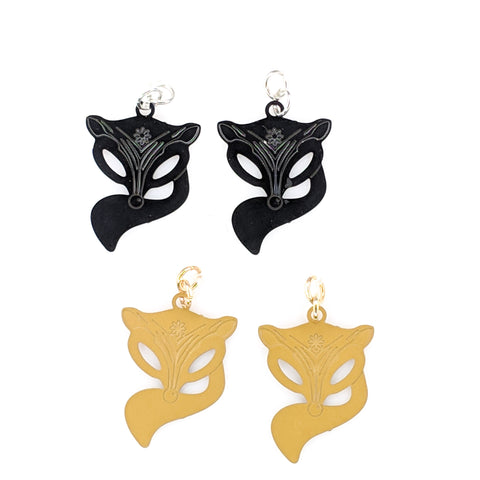 Fox Earrings (Dangles) - black and gold