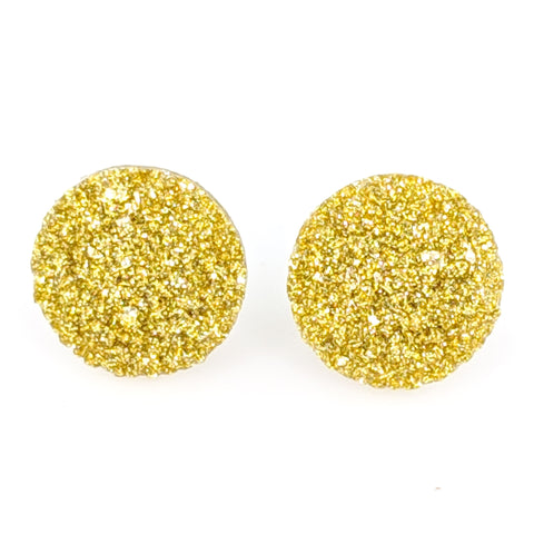 Large Faux Druzy Earrings (Studs) - gold