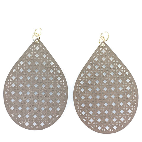Tennis Racquet Earrings (Dangles) - taupe
