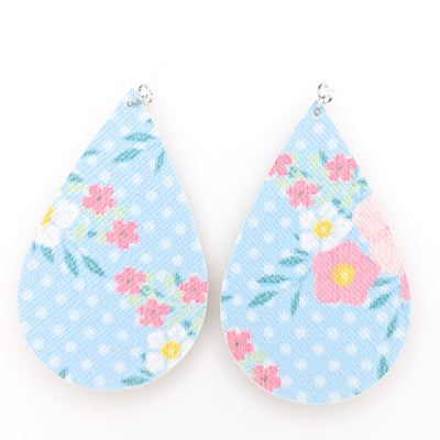 Polka Dot Floral Earrings (Teardrop Dangles) - blue, pink, and white