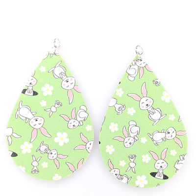 Easter Rabbit Earrings (Teardrop Dangles) - green with white bunnies