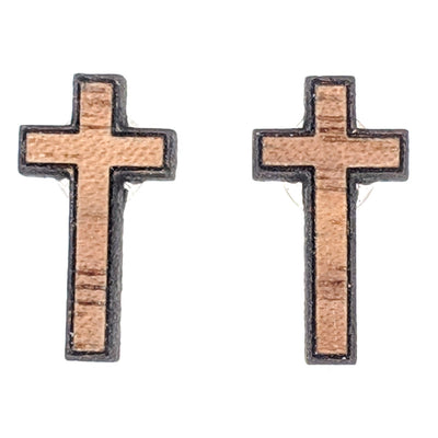 Wooden Cross Earrings (Studs)