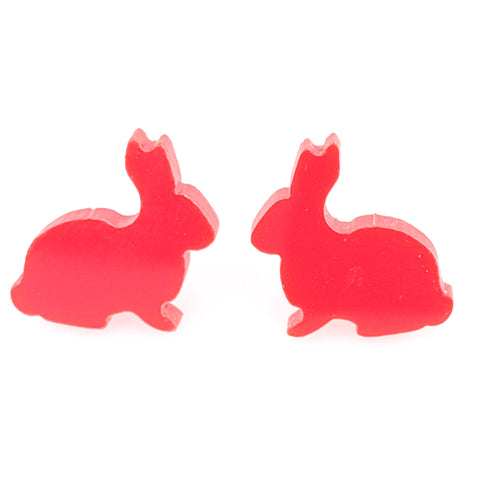 Glossy Bunny Earrings (Studs) - red