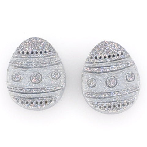 Easter Egg Earrings (Studs) - silver