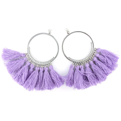 Single-Color Hoop Tassel Earrings (Dangles) - purple silver hoop