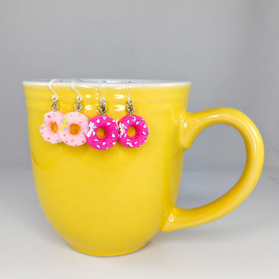 Donut Bite Earrings (Dangles) - light pink and hot pink