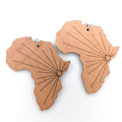 Wooden Africa Earrings (Dangles)
