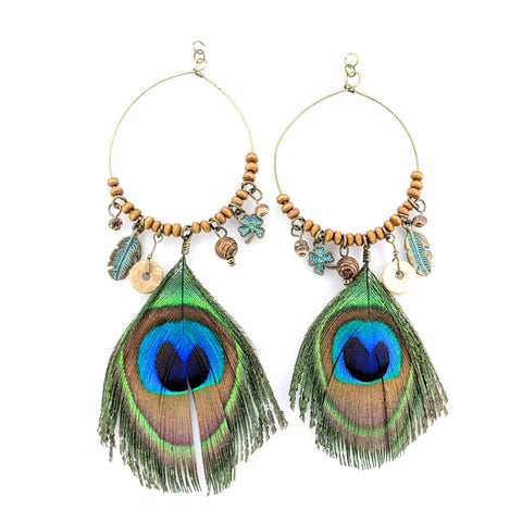 Peacock Feather Hoop Earrings