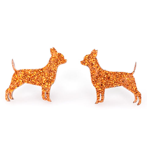 Chihuahua Dog Glitter Earrings