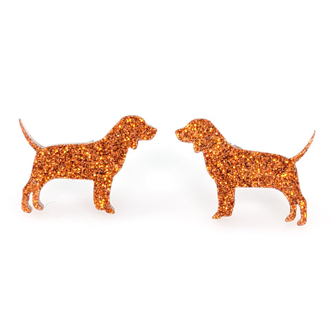 Beagle Dog Glitter Earrings (Studs) - brown