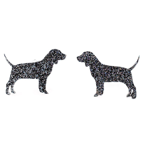 Beagle Dog Glitter Earrings (Studs) - black