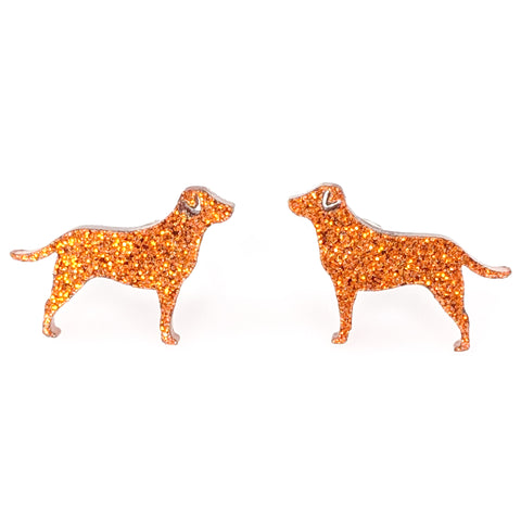 Labrador Retriever Dog Glitter Earrings (Studs) - orange