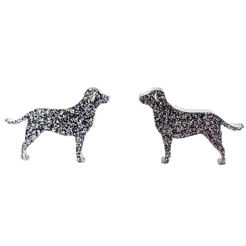 Labrador Retriever Dog Glitter Earrings (Studs) - black