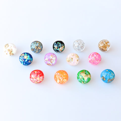 Gold Fleck Button 12mm Earrings (Studs) - all colors