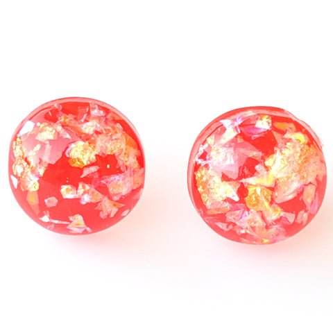 Gold Fleck Button 8mm Earrings (Studs) - red