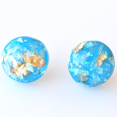 Gold Fleck Button 8mm Earrings (Studs) - sky blue