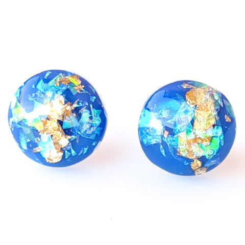 Gold Fleck Button 8mm Earrings (Studs) - royal blue