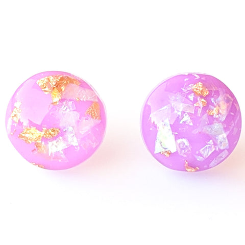 Gold Fleck Button 12mm Earrings (Studs) - orchid