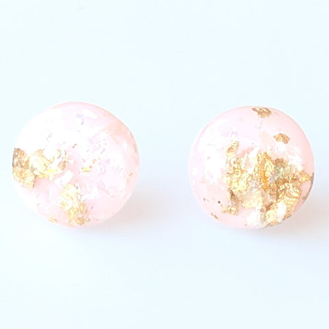Gold Fleck Button 8mm Earrings (Studs) - light pink