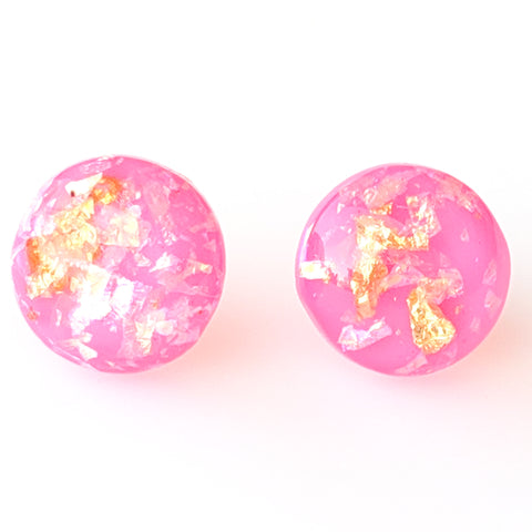 Gold Fleck Button 12mm Earrings (Studs) - hot pink
