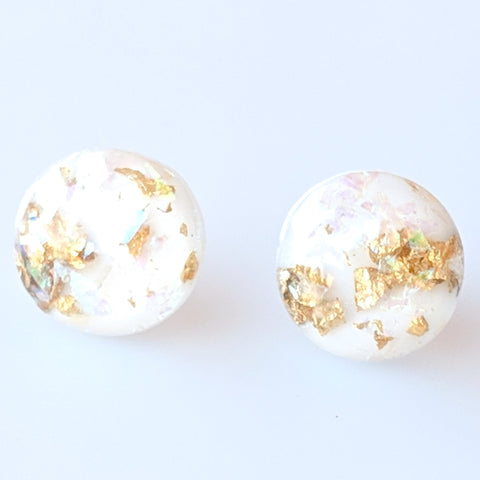 Gold Fleck Button 8mm Earrings (Studs) - white