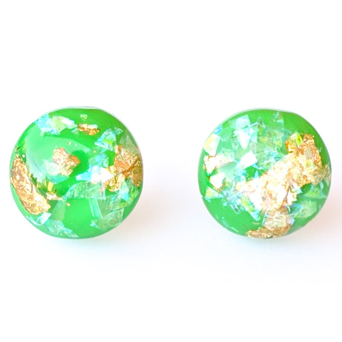 Gold Fleck Button 12mm Earrings (Studs) - green