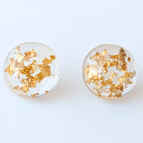 Gold Fleck Button 12mm Earrings (Studs) - gold