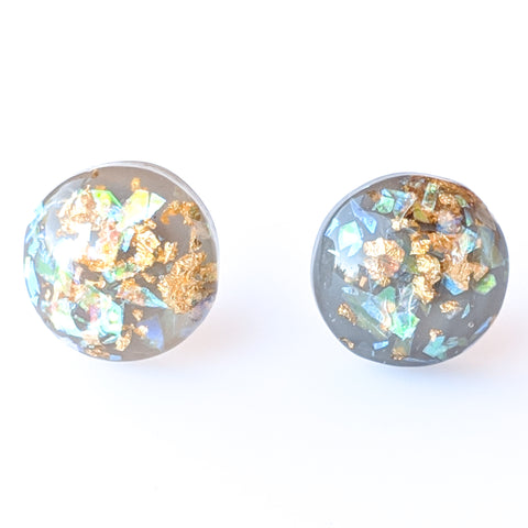 greyGold Fleck Button 12mm Earrings (Studs) - grey