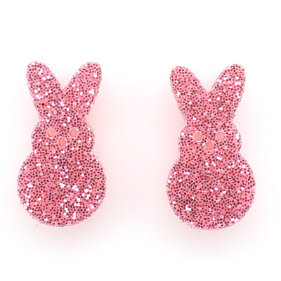 Marshmallow Bunny Earrings (Studs) - pink