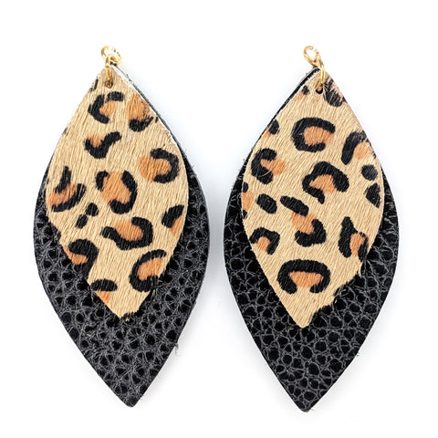 Double Layer Leopard Teardrop Earrings