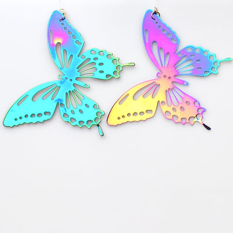 Color Changing Butterfly Earrings (Dangles) - iridescent