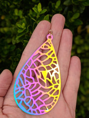 Color Changing Mosaic Teardrop Earrings (Dangles) - size comparison hand