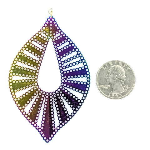 Color Changing Bubble Teardrop Earrings (Dangles) - size comparison quarter