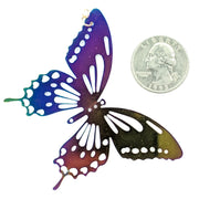 Color Changing Butterfly Earrings (Dangles) - size comparison quarter