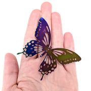Color Changing Butterfly Earrings (Dangles) - size comparison hand