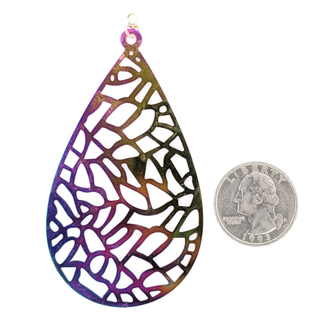 Color Changing Mosaic Teardrop Earrings (Dangles) - size comparison quarter