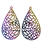Color Changing Mosaic Teardrop Earrings (Dangles) - iridescent