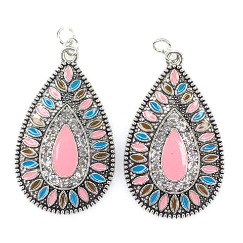 Aztec Stone Earrings (Teardrop Dangles) - pink
