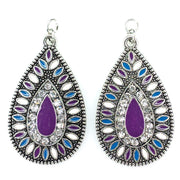 Aztec Stone Earrings (Teardrop Dangles) - purple