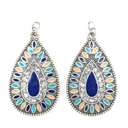 Aztec Stone Earrings (Teardrop Dangles) - blue, green