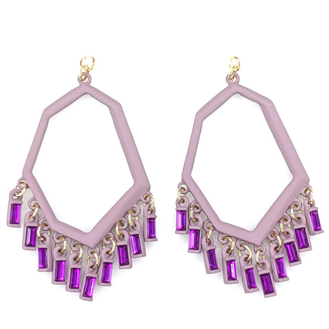 Geo Gem Earrings (Dangles) - purple