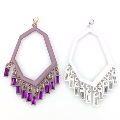 Geo Gem Earrings (Dangles) - purple and white