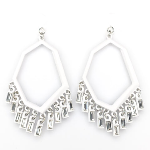 Geo Gem Earrings (Dangles) - white